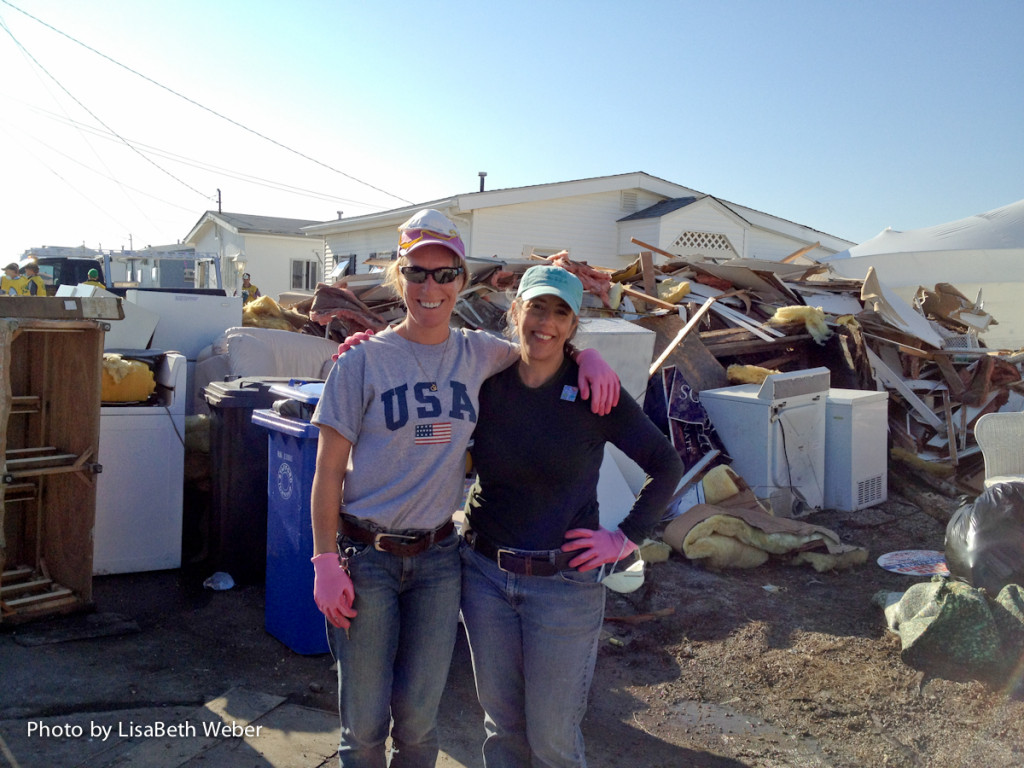 LisaBeth with Gretchen Gunn, volunteering at the Shore after Hurricane Sandy. 11/11/12. - Manahawkin, NJ