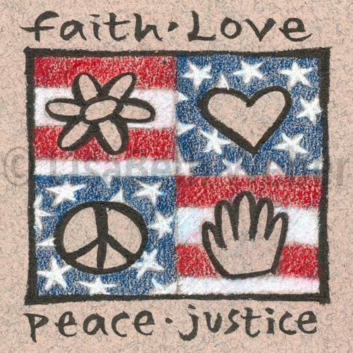 faith love peace justice pin